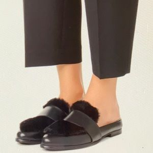 Sol Sana Faux Fur and Leather Black Flat Mules